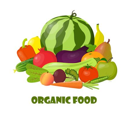 Paper bag full of natural organic vegetables and fruits. Beautiful composition with watermelon, zucchini, pomegranate, eggplant, orange, banana, beetroot, carrot, tomato, cucumber sweet pepper pear Illustration