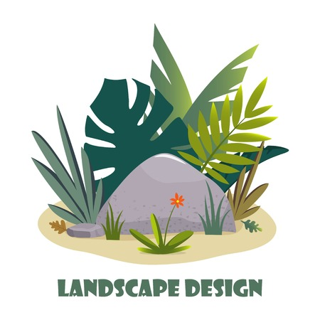Landscape design composition with plant and stones. Cute floral composition for greeting card, banner, flyer, app, website on ecological, botanic, landscape design themes. Vector illustration