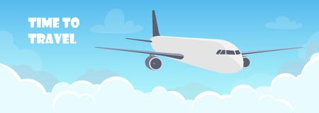 Flying plane above the clouds. Aircraft in the sky. Travel concept illustration for advertising airline, website to search for air tickets, travel agency. Traveling flyer, banner, vector illustration Çizim