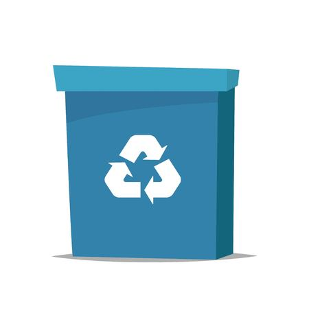 Big blue recycle garbage can with recycling symbol on it. Trash bin in cartoon style. Recycling trash can. Vector illustration