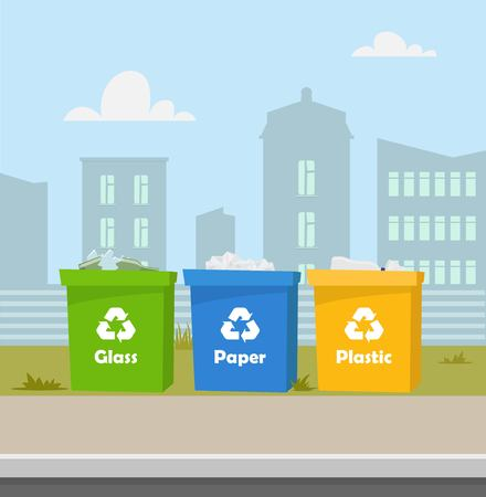 Containers with waste. Recycling and sorting garbage. City landscape on background. Blue, green, yellow trash bins with recycling symbols. Containers for glass, paper and plastic. Vector illustration