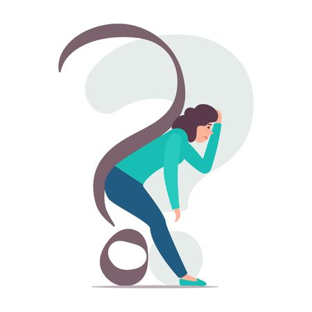 Woman is bent under the question mark. Woman is dejected by problems and doubts. Vector concept illustration