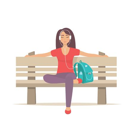 Cute girl sitting on a bench with headphones and listening to music. Young woman enjoying music on park bench. Vector illustration Çizim