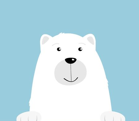 Cute cartoon white polar bear on blue background. Curious friendly bear smiling face. Illustration for greeting card