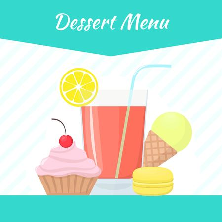 Desserts and pastry vector menu template. Ice cream, macaroon, cake, cocktail