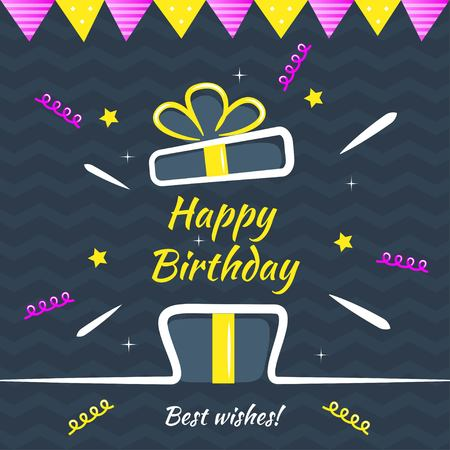 Happy Birthday greeting card vector design. Gift box with bow, confetti, decorative flags on dark background. Design template for birthday congratulatory card, hand drawn style, vector illustration