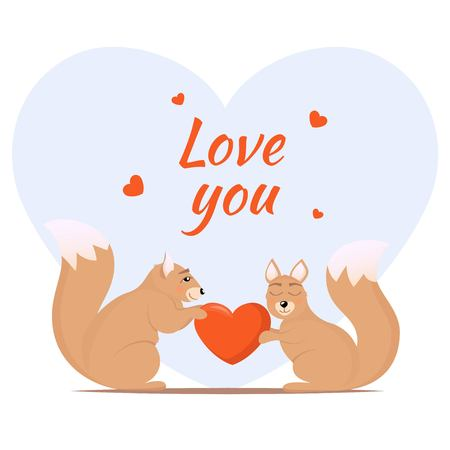 Couple of loving squirrels. One squirrel gives another a heart. Cute animals in love. Love theme card design, vector illustration