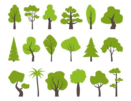 Big set of various trees. Tree icons set in a modern flat style. Pine, spruce, oak, birch, trunk, aspen, alder, poplar, chestnut, palm apple tree Vector illustration Çizim