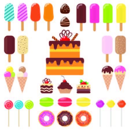 Various sweets, icon set. Ice cream, cake, cake, donut macaroon Lollipop candy chocolate Vector flat illustration Çizim