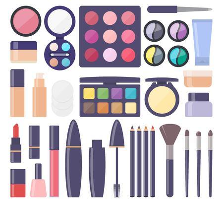 Decorative cosmetics, big set of icons. Everything for make up. Eye shadow, mascara, nail Polish, powder, foundation, brush, lipstick, cream cosmetic pencils Vector illustration flat style