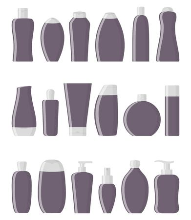 Personal care products: shampoo, shower gel, soap, cream, balm, hair spray, perfume, lotion tonic scrub peeling Vector illustration in flat style