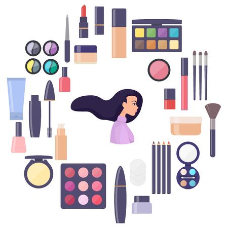 Woman face surrounded by decorative cosmetics elements. Everything for make up. Eye shadow, mascara, nail Polish, powder, foundation, brush, lipstick, cream cosmetic pencils. Vector illustration