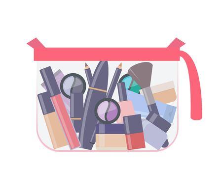 Plastic transparent cosmetic bag with makeup products. Eye shadow, mascara, nail polish, powder, foundation, brush, lipstick, cream cosmetic pencils. Vector illustration