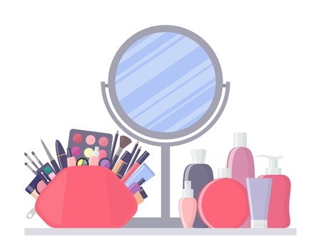 Big pink cosmetic bag with different decorative cosmetics, makeup mirror and cosmetic bottles. Products for beauty and cleanser. Everything for make up. Vector illustration.  イラスト・ベクター素材