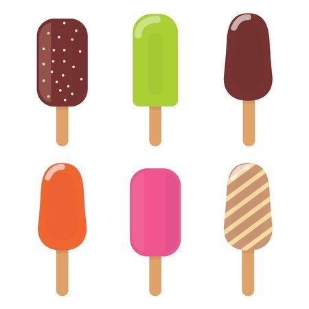 Colorful ice cream icons set. Ice creams in multi-colored glaze. Vector illustration. Vettoriali