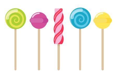 Collection of lollipops with a variety designs. Candy types. Simple vector illustration