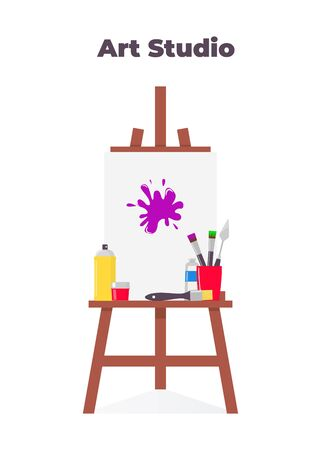 Painting tools elements in flat style, set. Art supplies: easel with canvas, paint tubes, palette knife, brushes. Vector illustration
