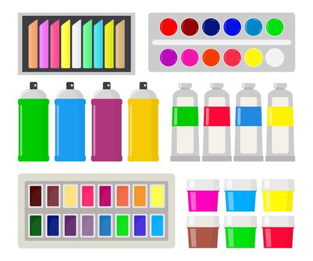 Collection of various types of paint: gouache, watercolor, oil paint, spray paint, chalk, pastel. Art supplies. Drawing creative materials for workshops designs