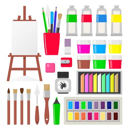 Painting tools elements in flat style, set. Art supplies: easel with canvas, paint tubes, brushes, pencil, gouache, watercolor, oil paints crayons pastel Vector illustration Çizim