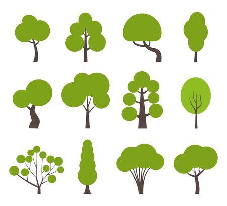Big set of various trees. Tree icons set in a modern flat style. Pine, spruce, oak, birch, trunk, aspen, alder, poplar, chestnut, palm apple tree Vector illustration Vettoriali