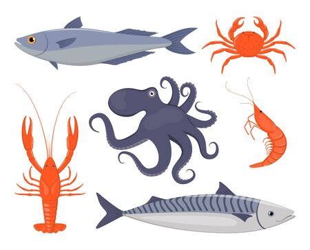 Seafood set. Salmon, crab, lobster, octopus, shrimp, mackerel in flat style. Fish seafood icons for restaurant menu Vector illustration