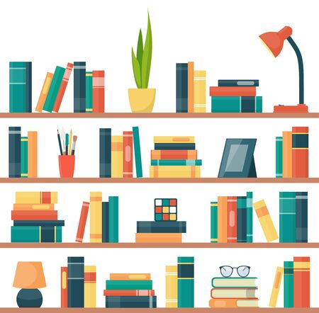 Book shelves with books and other objects. Book, lamp, potted plant, photo frame, rubik cube, glasses. Vector illustration in flat style