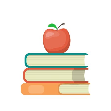 Stack of books and red apple on top. Education symbol. Concept illustration, vector