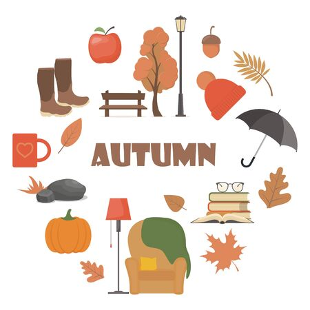 Autumn element set. Vector autumn attributes: pumpkin, apple, boots, umbrella, chair, plaid, books, mug, tree, bench lantern hat leaves Illustration for web card poster cover tag invitation
