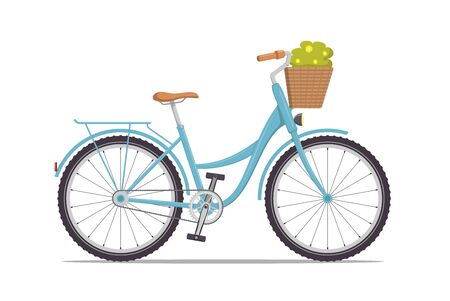 Cute women s retro bike with a low frame and basket with flowers in front. Vintage bicycle. Vector illustration in flat style