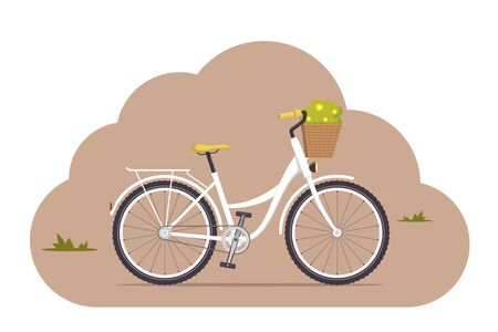 Cute women s retro bike with a low frame and basket with flowers in front. Vintage white bicycle. Vector illustration in flat style Vettoriali