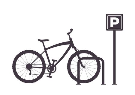 Bicycle Parking, simple graphic monochrome vector illustration. Bicycle Parking Icon. Bike parking silhouette