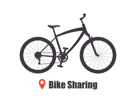 Modern city or mountain bicycle for bike sharing service. Multi-speed sport bicycle for adults. Bike sharing concept illustration, vector