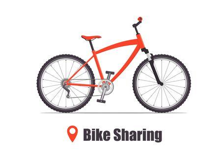 Bicicleta de ciudad o montaña moderna para servicio de bicicletas compartidas. Bicicleta deportiva multivelocidad para adultos. Ilustración de concepto de compartir bicicletas, vector