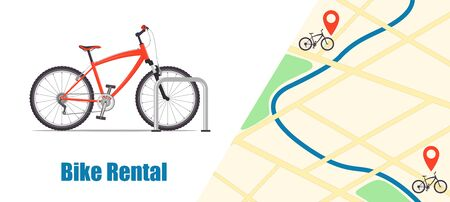 Modern city or mountain bicycle for bike rental service. City map with pins and bikes. Bike rental banner. Bike sharing concept illustration, vector