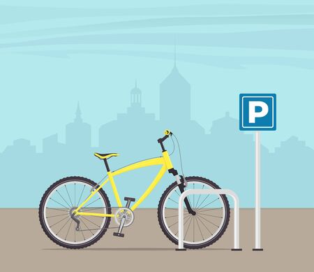 Bicycle Parking on a city street. Yellow modern bicycle at parking sign. Vector illustration in flat style Vettoriali