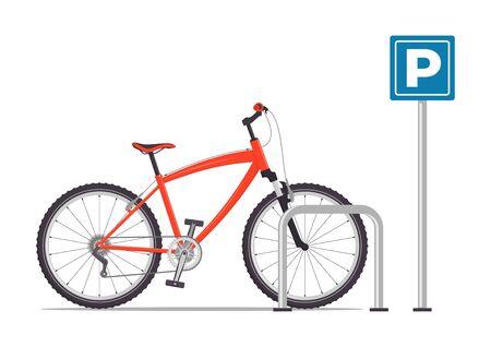 Fahrradabstellplatz. Rotes modernes Fahrrad am Parkplatzschild. Vektor-Illustration im flachen Stil, isoliert auf weiß