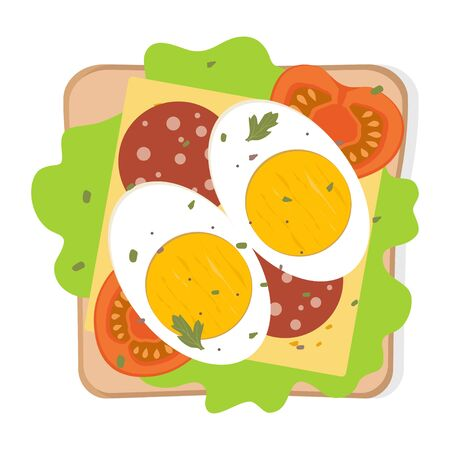 Toast with fried egg and vegetables. Sandwich with bread, egg, cheese, tomato, sausage, herbs and spices. Best for breakfast. Vector illustration