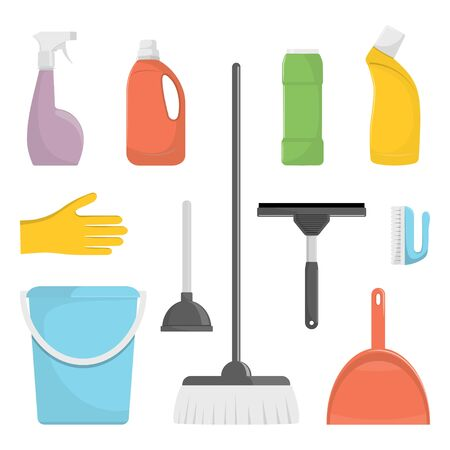 Set of cleaning tools and detergents. Bucket, scoop and brush for sweeping, washing powder, bottle of spray, sponge, brush, glass scraper, rubber gloves. Vector illustration in flat style