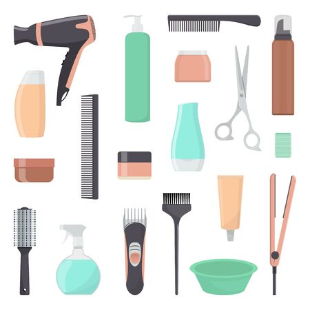 Tools and cosmetic products for hair care. Professional hairdressing tools. A set of elements for a beauty salon. Vector illustration in flat style
