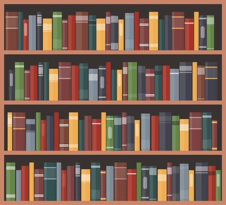 Bücherregal mit Büchern. Bücherregale mit bunten Buchrücken. Vektorillustration im flachen Stil Vektorgrafik
