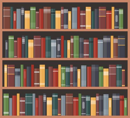 Bookcase with books. Book shelves with multicolored book spines. Vector illustration in flat style