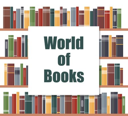 World of books concept. Book shelves with multicolored book spines. Books on a shelf. Vector illustration in flat style Vettoriali