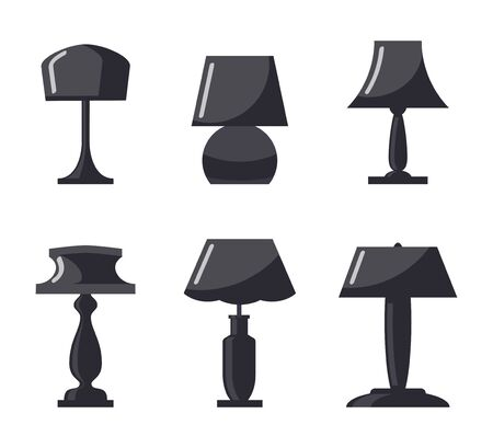 Monochrome table lamp set. Modern table lamp icon collection, flat style. Vector illustration