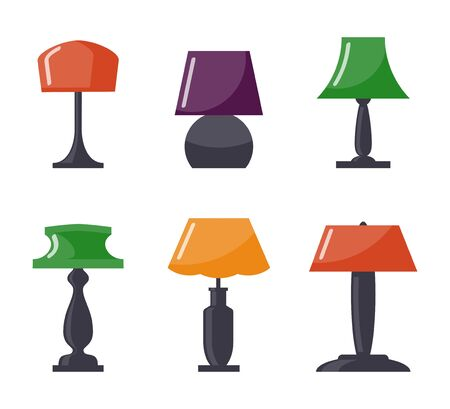 Colorful table lamp set. Modern table lamp icon collection, flat style. Vector illustration