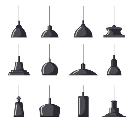 Hanging lamps, set. Chandeliers, lamps, bulbs - elements of modern interior, beautiful icon collection. Vector illustration isolated