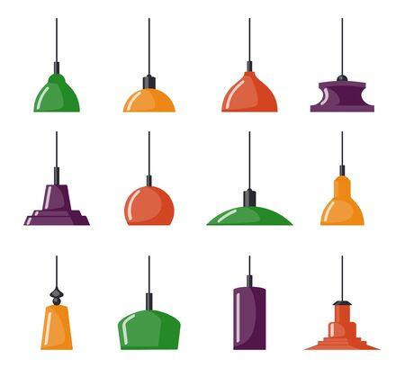 Hängelampen, Set. Kronleuchter, Lampen, Glühbirnen - Elemente des modernen Interieurs, schöne Ikonensammlung. Vektorillustration isoliert
