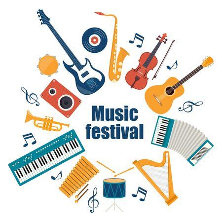 Musical instruments and vinyl record. Music festival invitation. Guitar, synthesizer, violin, cello, drum, cymbals, saxophone accordion tambourine trumpet harp loudspeaker Vector illustration