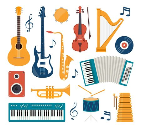 Set of vector modern flat design musical instruments and tools. Guitar, synthesizer, violin, cello, drum, cymbals, saxophone, accordion, tambourine trumpet harp loudspeaker Vector illustration