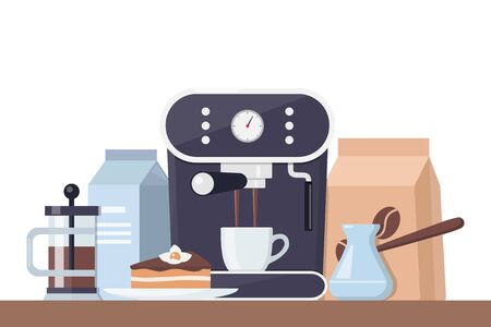 Coffee time concept illustration. Early breakfast with coffee and cake. Coffee machine, cup, cake, milk, sugar. Vector composition for banner and printed materials