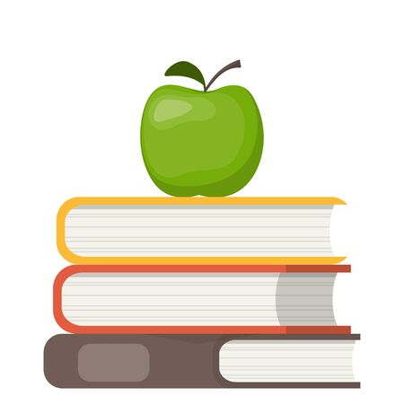 Stack of books and green apple on top. Education symbol. Concept illustration, vector